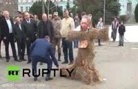 به آتش کشیدن سمبل اردوغان در روسیه