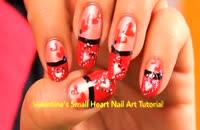 طرح قلب قرمز بر روی ناخن