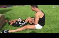 رونالدو در حال تمرین با پسرش