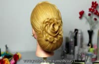 آموزش شینیون بافت و گل رز برای موهای بلند