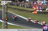 تصادف مرغ دریایی با موتورسوار در پیست مسابقه