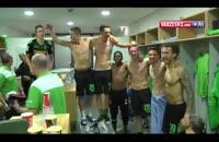 خوشحالی بازیکنان مونشن گلادباخ بعد صعود به لیگ قهرمانان
