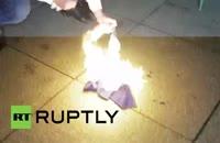 آتش زدن پرچم اتحادیه اروپا در لهستان