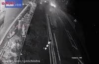 فرار راننده مرسدس بنز پس از تصادف