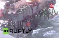 آتش سوزی در دکل نفتی جمهوری آذربایجان در دریای خزر