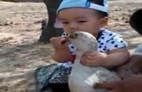 این بچه است یا هیولا :)) اردک بیچاره