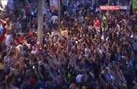 جشن و پایکوبی هواداران بارسلونا در شهر بارسلون